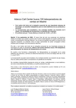 Adecco busca 100 teleoperadores en Madrid
