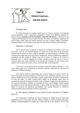 TEMA 8º TRIDUO PASCUAL: JUEVES SANTO