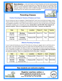 New students are welcome anytime. Parenting Classes