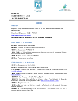 Programa de Actividades- Delegación Mexicana ANEAS en Israel
