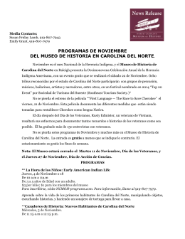 Programas de Noviembre 2014 - North Carolina Museum of History