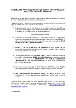 información para beneficiarios de beca18