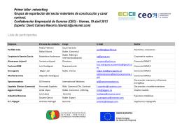 Primer taller: networking Grupos de exportación del sector