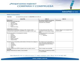 Tabla AdminPAQ vs. SAE