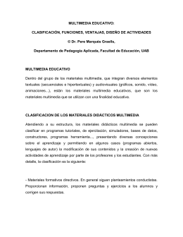 MULTIMEDIA EDUCATIVO: CLASIFICACIÓN, FUNCIONES