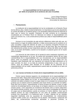 La responsabilidad civil de la persona jurídica por delito (A