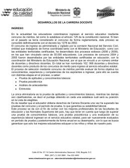 Desarrollos de la carrera docente.