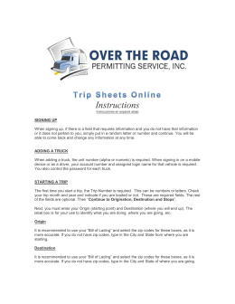 Instructions - Online Trip Sheets & IFTA Fuel Tax Filing Software