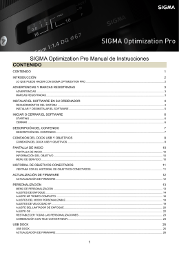 SIGMA Optimization Pro Manual de Instrucciones