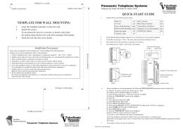 Panasonic KX--TA308 Quick Start Guide