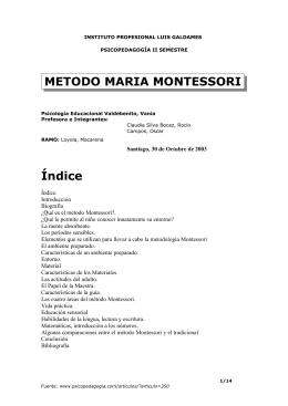 METODO MARIA MONTESSORI - Resumen