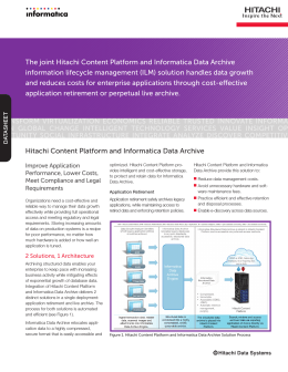 Hitachi Content Platform and Informatica Data Archive — Datasheet