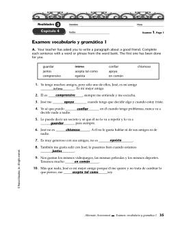 Examen: vocabulario y gramática 1 - Hatboro