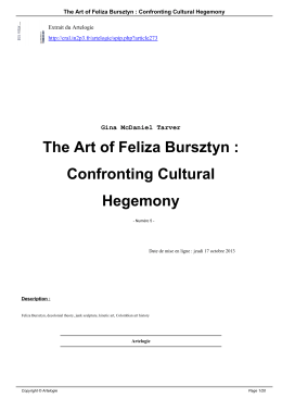 The Art of Feliza Bursztyn : Confronting Cultural - Nouvelles