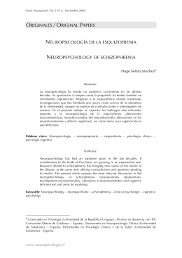 ORIGINALES / ORIGINAL PAPERS NEUROPSICOLOGÍA DE LA