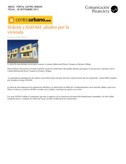 Holcim y SADASI, aliados por la vivienda (Portal Centro