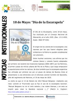 """18 de Mayo: """"Día de la Escarapela"""""""