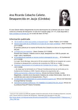 Ana Ricarda Cobacho Cañete. Desaparecida en Jauja (Córdoba)