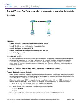 Packet Tracer: Configuración de los parámetros iniciales del switch