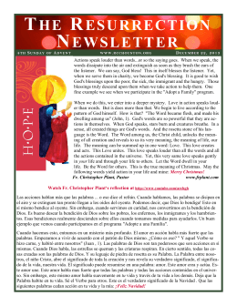 the resurrection newsletter - Resurrection Catholic Community