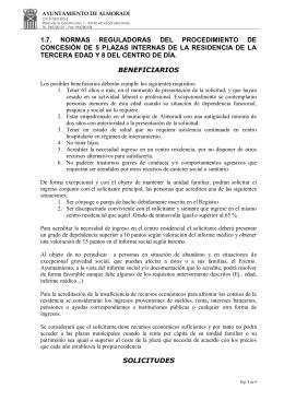 Ordenanza concesión plazas internas residencia 3a edad y centro