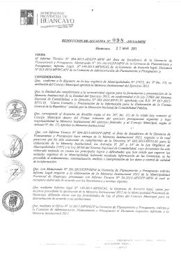 Memoria anual 2012 - Municipalidad Provincial de Huancayo