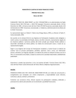 RENDICIÓN DE CUENTAS DE RADIO FRANCISCO STEREO