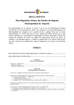 REGLAMENTO Plan Regulador Urbano del Cantón de Alajuela