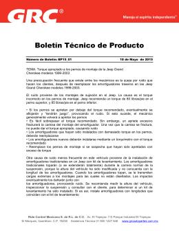 Boletín Técnico de Producto