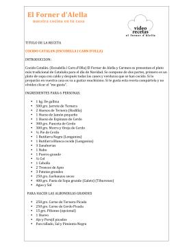 COCIDO CATALAN (ESCUDELLA Y CARN D`OLLA