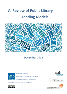 A Review of Public Library E-Lending Models December 2014