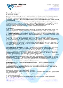Divorcio Mutuo Acuerdo 18 de Febrero de 2013 El proceso puede