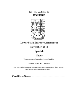 ST EDWARD`S OXFORD Lower Sixth Entrance Assessment