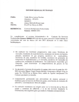 En cumplimiento al contrato Administrativo de Contrato De Servicios