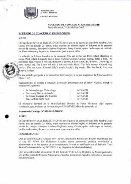 ACUERDO DE CONCEJO N° 030-2015-MDPH