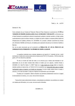 Carta informativa DOCM 15 VPO en Yunquera de Henares