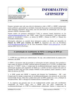 INFORMATIVO GFIP/SEFIP
