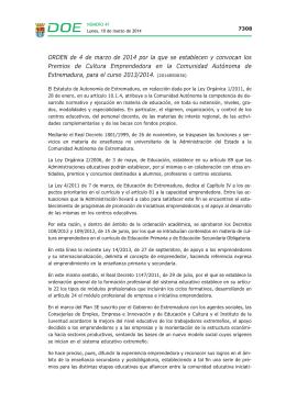 ORDEN de 4 de marzo de 2014 - Diario Oficial de Extremadura