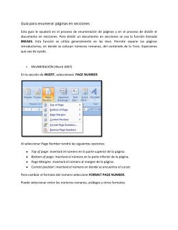 Guía para enumerar páginas en secciones