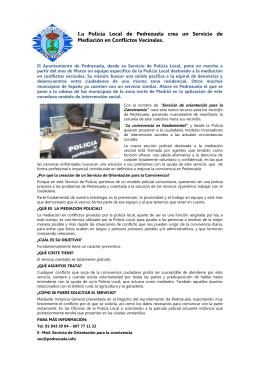 La Policía Local de Pedrezuela crea un Servicio de Mediación en