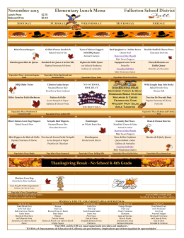 November 2015 Elementary Lunch Menu Fullerton School District