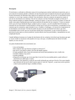 Descripción El micrómetro es utilizado en diferentes ramas de la