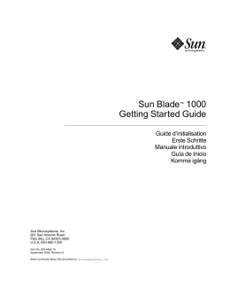 Sun Blade™ 1000 Getting Started Guide