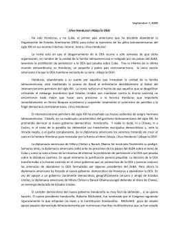 Septiembre 7, 2009 ¡Viva Honduras! ¡Abajo la OEA! Ha