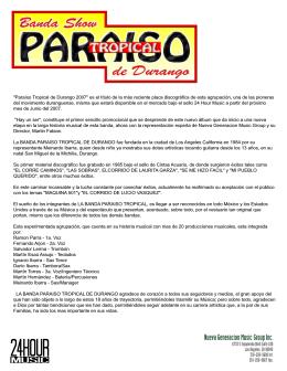 """""""Paraíso Tropical de Durango 2007"""" es el título de la más reciente"""