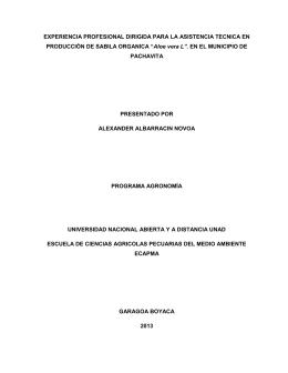 """Aloe vera L"". EN EL MUNICIPIO - Repositorio Institucional UNAD"