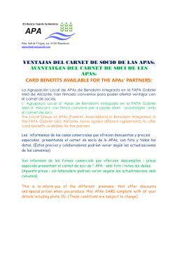 VENTAJAS DEL CARNET DE SOCIO DE LAS APAS: AVANTATGES