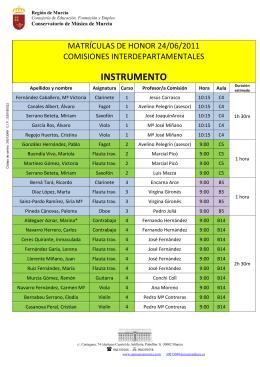 MATRICULAS HONOR enviar email - Conservatorio de Música de