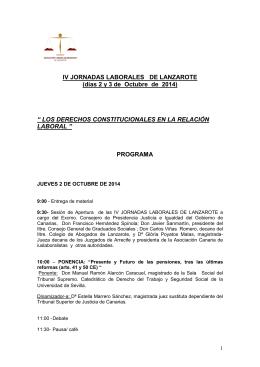 Programa - Jornada Laboral Lanzarote
