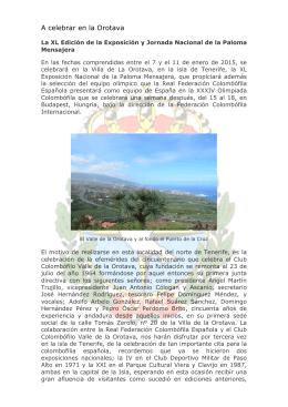 A celebrar en la Orotava - Real Federación Colombófila Española